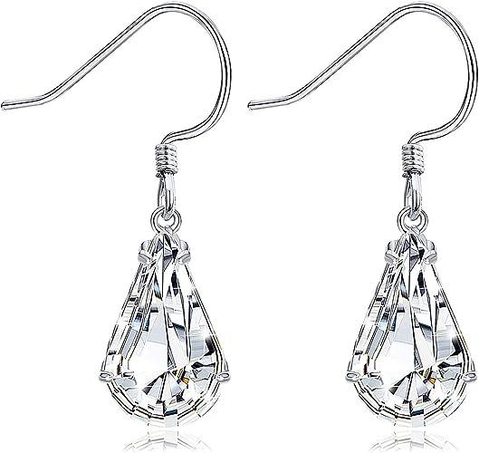 Party Hook Earrings Elegant Jewelry Tear Drop Pattern 925 Silver Ear Stud