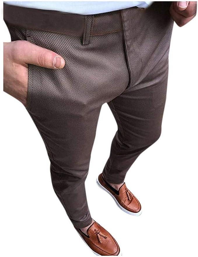 Pantalones de Traje de Negocios Moda Color sólido Pantalones para ...