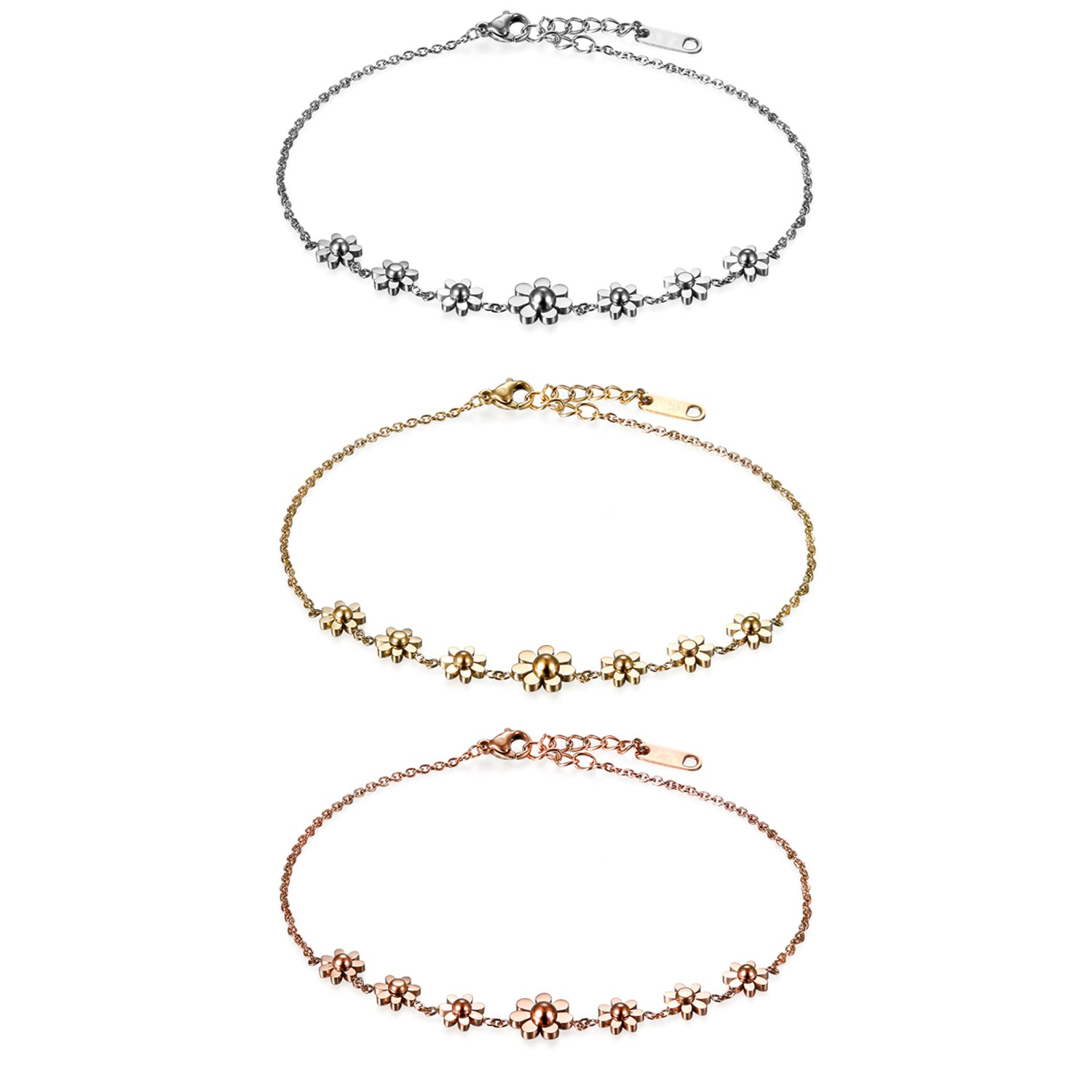 Flongo Womens Girls 3PCS Vintage Stainless Steel Daisy Flowers Link Bracelet Birthday Valentine Daisy Anklet for Women, 8.66 inch