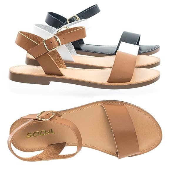 Bonnibel Open Toe Flat Sandal w Adjustable Ankle Strap