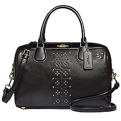 94bc7b92fdfb COACH LARGE BENNETT SATCHEL IN SIGNATURE CANVAS WITH RIVETS BROWN BLACK MULTI   Handbags  Amazon.com