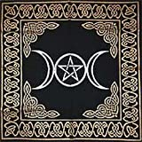 Altar Tarot Cloth: Triple Goddess With Pentagram - 24 x 24 (Gold/Silver on Black Pentacle/Pentagram)