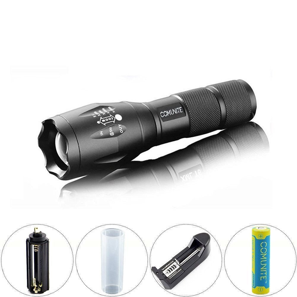 Comunite Zoomable Tactical LED Flashlight 5000LM CREE XML T6 18650/AAA + Battery
