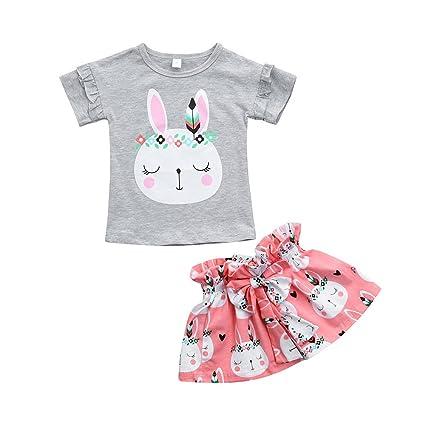 Feixiang Ropa de niña niños recién Nacido bebé niña niña Conejo de Dibujos Animados Camiseta Camiseta