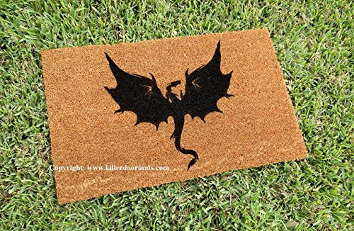 Flying Dragon Doormat, Size Large - Welcome Mat - Doormat - Custom Hand Painted Doormat by Killer Doormats