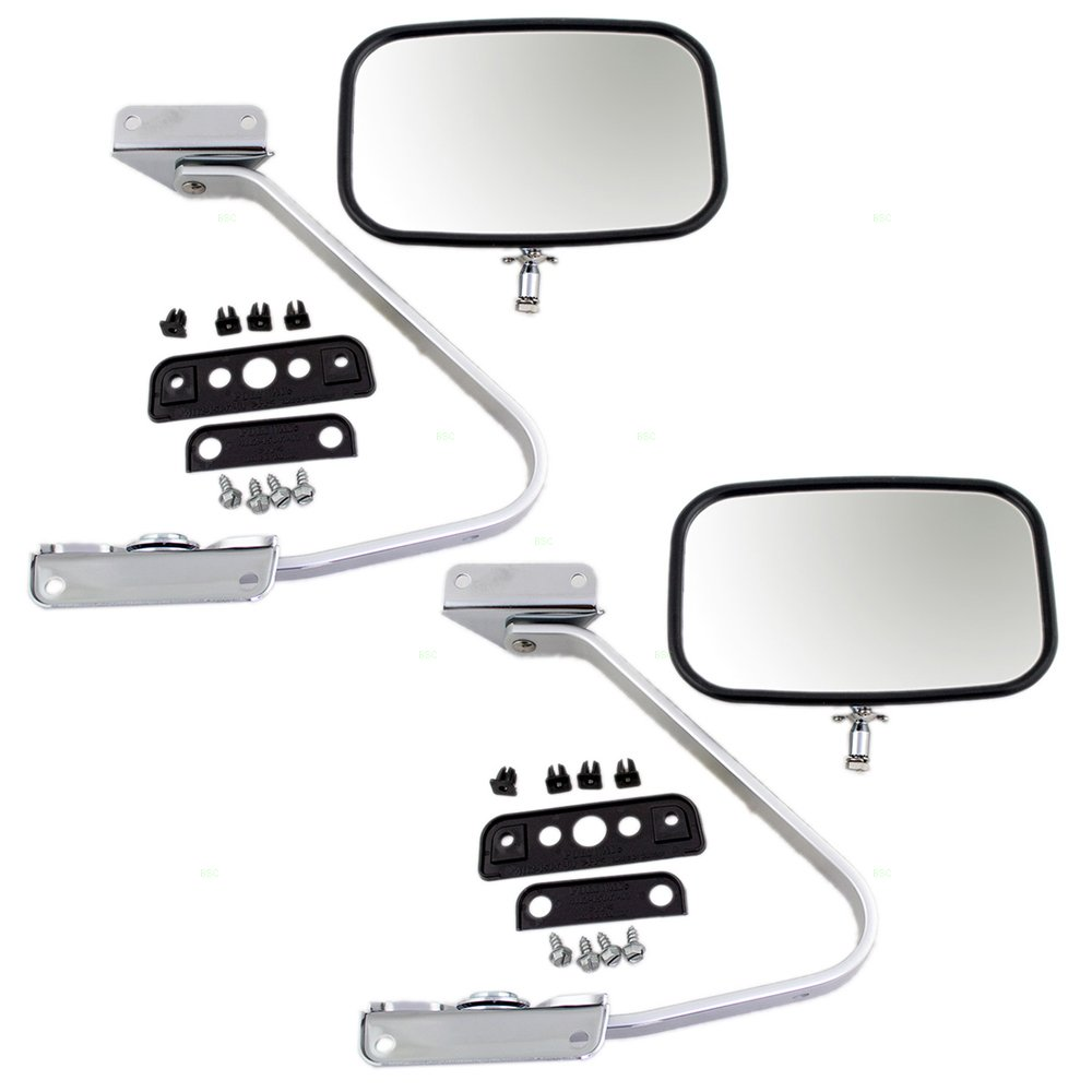Amazon.com: Pair of Manual Side View Chrome Mirrors with Metal ...