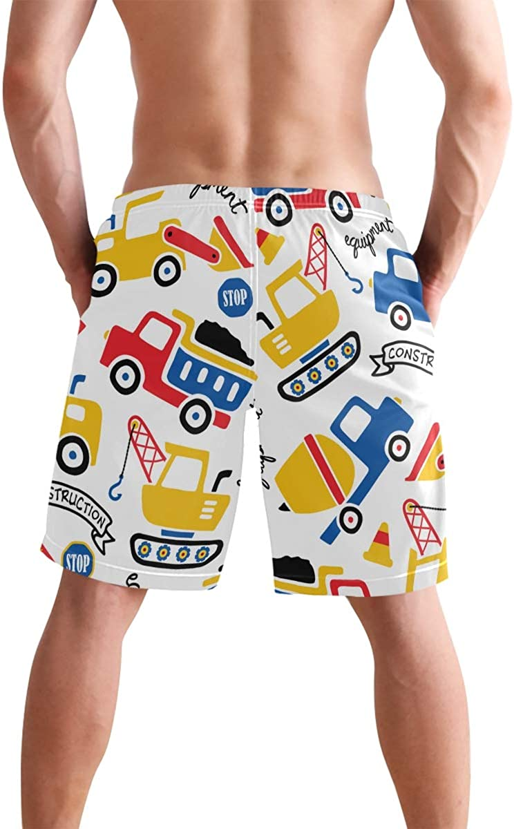 COVASA Mens Summer ShortsConstruction Vehicles Cartoon