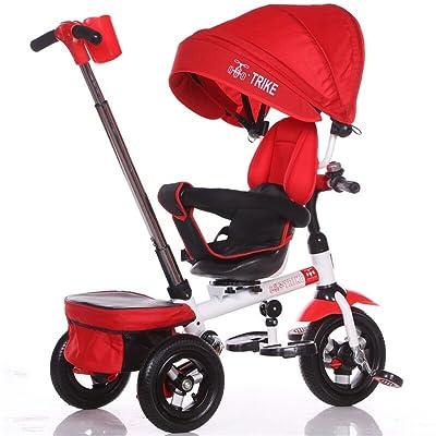 Facile Pliable Enfant Tricycle Enfant Chariot Poignée Poignée Stoller Vélo avec Auvent Anti-UV et Poignée Parent   pour 1-3-6 ans Garçon et Fille Bébé   Sièges rotatifs