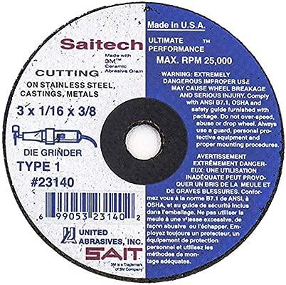 SAITech Cutting Wheel 50-Pack SAIT 23140 Type 1 3 by 1//16 by 3//8 United Abrasives United Abrasives