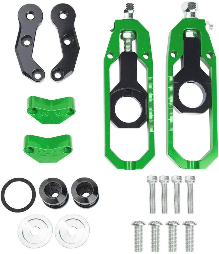 Black Motorcycle Chain Adjusters Tensioner Catena w//Spool For Kawasaki Ninja ZX10R 2011-2015