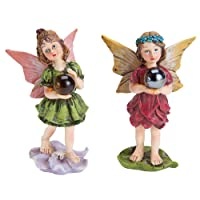 Bits and Pieces - Set of 2 Hand Painted Polyresin Garden Fairy With Wishball - Create Your Own Woodland Fairy Village