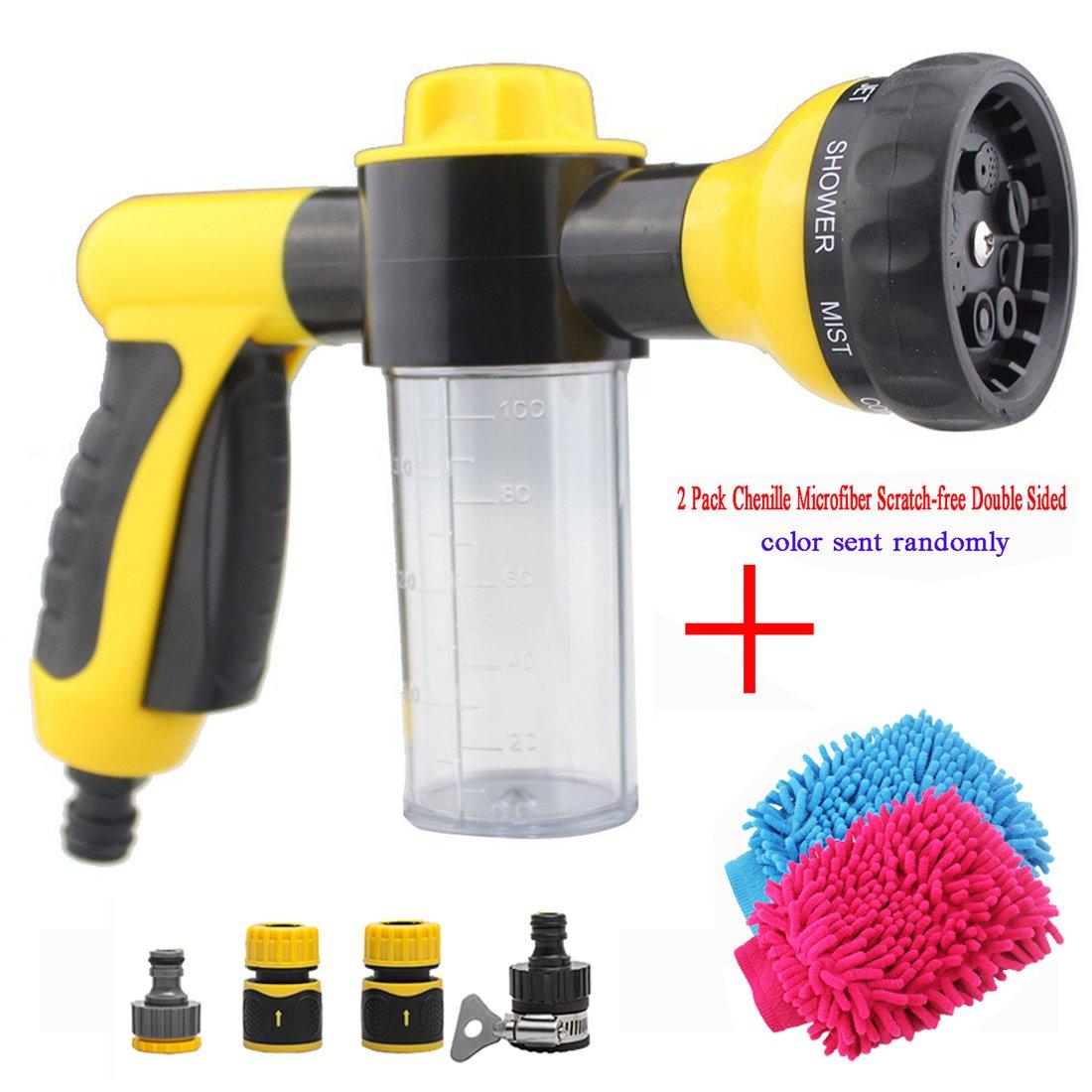 Lavage de voiture par buse de pulvérisation d'eau à haute pression Pulvérisateur de forme 8 en 1 spray, paramètres avec fonction de nettoyage en mousse, meilleur pour un lavage de voiture, jardinag