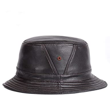 f5d022bb9 Amazon.com: Meronran Man Real Leather Fitted Flat Bucket Hats Male ...