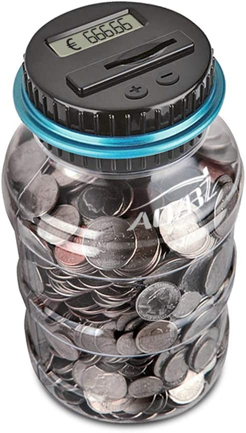 AOZBZ Contador Digital de Hucha per EUR, Automático Moneda Contando Caja de Dinero para Niños y Adultos, Banco de Dinero Seguro Moneda de Ahorro de Contenedores de Pote Pantalla LCD y Gran Capacid