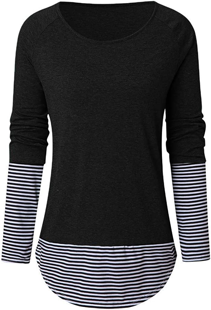 CGKUITER Womens Long Sleeve Striped Patchwork Shirt Casual Loose Top with Thumb Hole