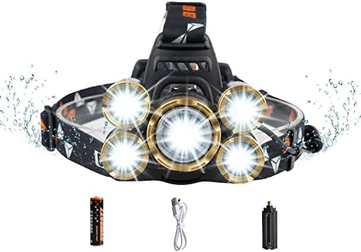Details about  /2x Headlamp LED USB Rechargeable Waterproof Headlights 8Modes 350000Lumens