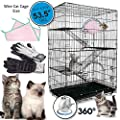 Petsmatig Wire Cat Cage Spacious Foldable Metal Pet Crate Playpen With 3 Openings 3 Platforms 3 Ladders 1 Hammock 1 Bottom Tray 4 Wheels And Free Grooming Gloves