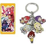 No Game No Life Keychains Metal Figures Pendants Key Ring