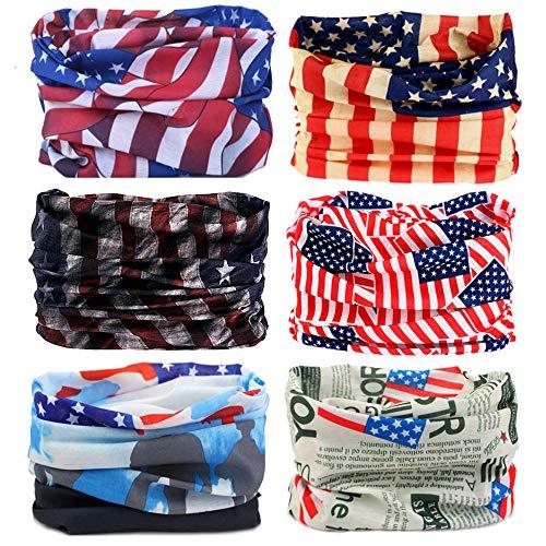 Bandana Patch - SUNTER Multifunctional Magic Headbands UV Resistence Bandana Outdoor Scarf Sports Headwear Sweatband 9PCS & 6PCS (Flag)