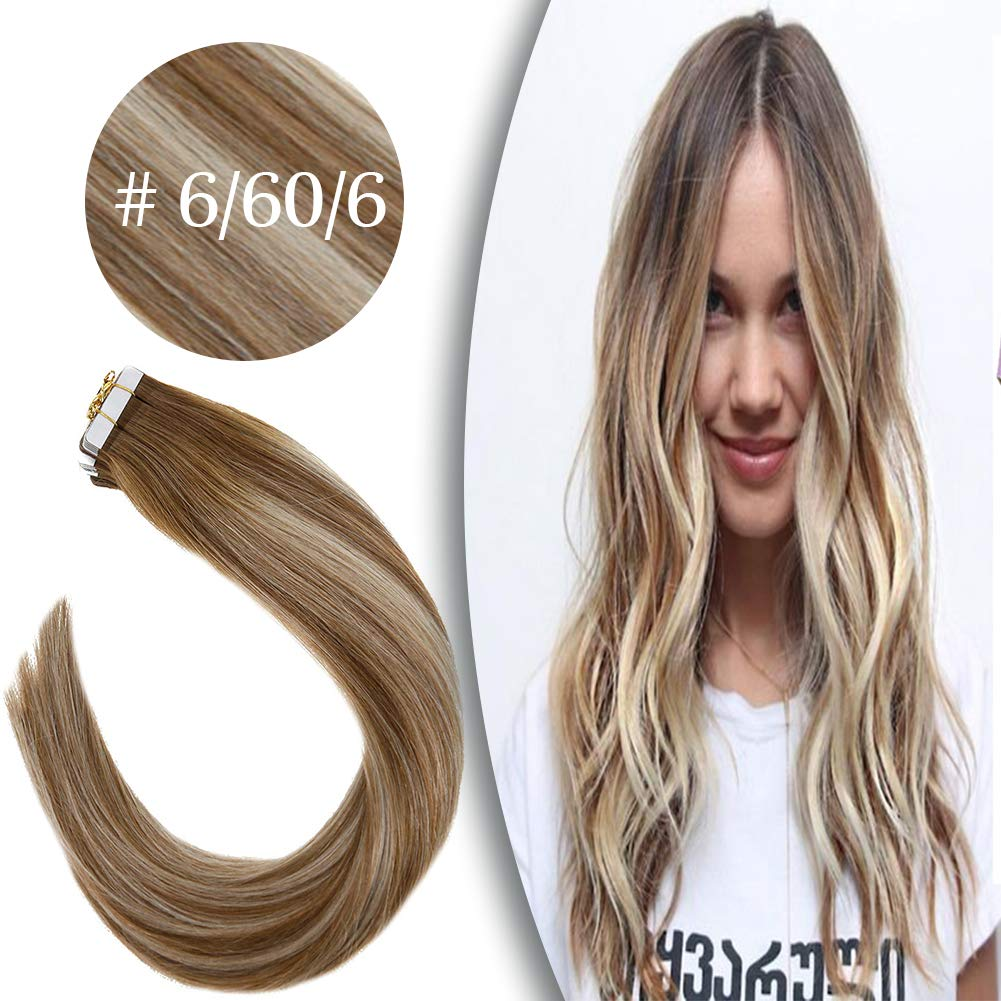 VeSunny 20inch Balayage Tape in Hair Extensions Human Hair 20 Pcs 50 Gram #6 Brown Fading to #60 Platinum Blonde Remy Dip Dye Tape Hair Extensions 100% Human Hair by VeSunny