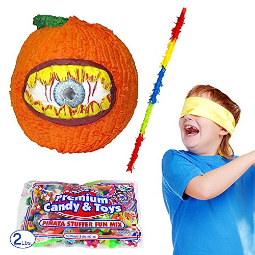 Pinatas Pumpkin Halloween Pinata Kit, Including Hungry Pumpkin Pinata, Buster Stick, Bandana, 2 lbs. Candy (Halloween Bat Pinata)
