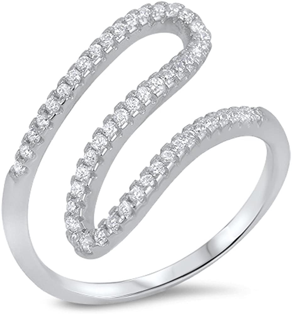 CloseoutWarehouse Cubic Zirconia Crooked Line Designer Ring Sterling Silver