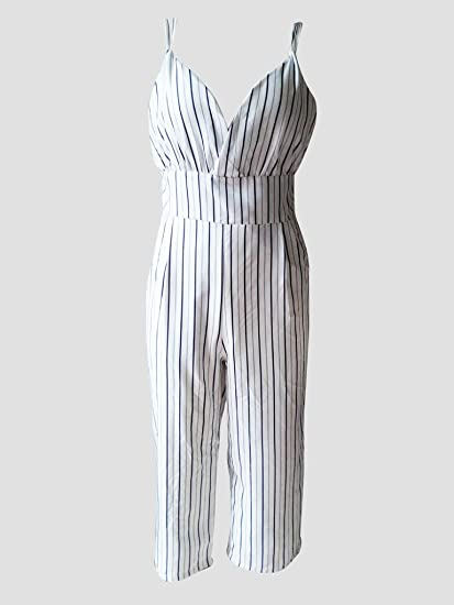 1cdb56de29 Image Unavailable. Image not available for. Color  AL001 New Jumpsuit Women  Striped Clubwear V-Neck Playsuit Sleeveless Jumper Bodycon ...