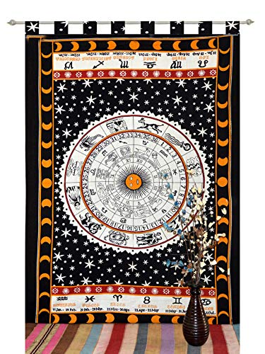 Indian Mandala Curtains Set Decorative Indian Tab top Tapestry Tab Top Curtains Mandala Curtains for Bedroom