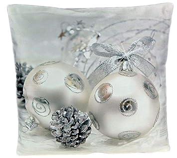 Kuschelweiche Kissenhülle 40x40 Cm Weihnachten Winter Dekokissen Weich Foto Kissenbezug Kissen Kugeln Silber