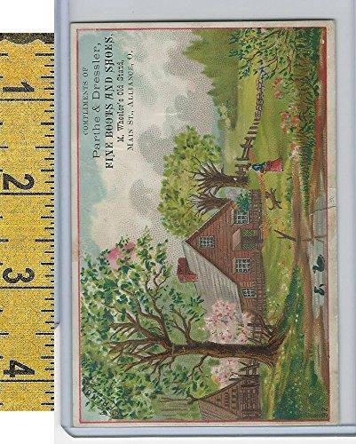 - Victorian Card, 1890's, Parthe & Dressler Shoes, Alliance Ohio, Farm Scene