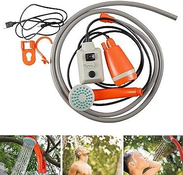 Juego de ducha portátil de 3,7 V con bomba de agua USB para camping y senderismo, naranja