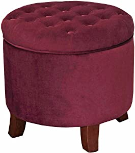 HomePop Velvet Button Tufted Round Storage Ottoman with Removable Lid, Burgundy
