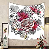 Gzhihine Custom tapestry Floral Tapestry Romantic Rose Petals Bouquet Bridal Wedding Themed Nostalgic Blooms in Mixed Colors for Bedroom Living Room Dorm Multicolor