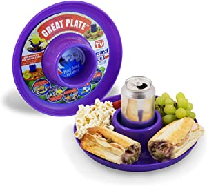 GREATPLATE Kids Plates Adult Food Tray and Beverage Holder for Parties, Reusable, Heavy Duty and BPA Free Plastic, 10 Inch, Purple, 10 Pack