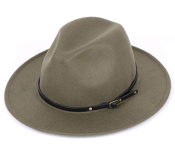 097a800ec7 Lanzom Women Lady Retro Wide Brim Floppy Panama Hat Belt Buckle Wool Fedora  Hat (Army