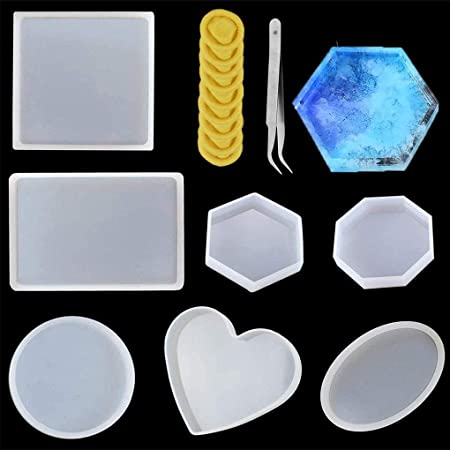 18Pcs Coaster Silicone Resin Mold Round Square Rectangle Heart Oval Molds Kit