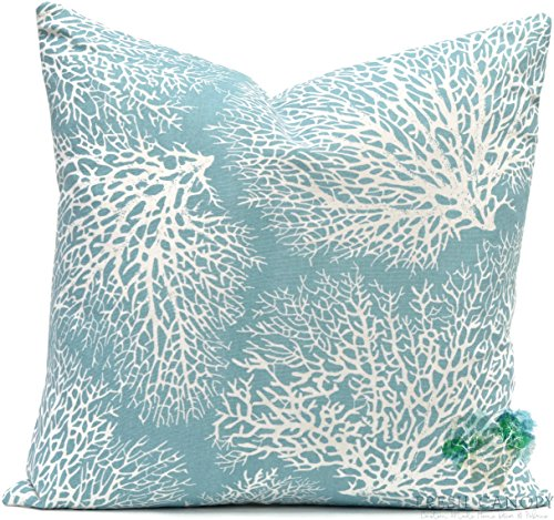Blue Coral Pillow Cover - Magnolia Home Fashions Ariel Ocean Pillow Cover - 20 Different Sizes - Bottom Invisible Zipper Closure