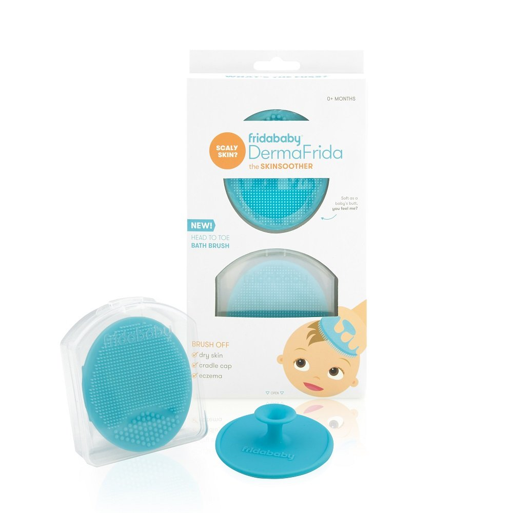 FridaBaby Baby Bath Silicone Brush DermaFrida The Skin Soother Baby Essential for Dry Skin, Cradle Cap and Eczema (2 Pack) 023