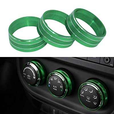 Danti 3pcs Audio Air Conditioning Button Cover Decoration Twist Switch Ring Trim for Jeep Wrangler JK JKU Patriot Liberty 2011-2020 Dodge Challenger 2008-2014 (Green): Automotive [5Bkhe1401783]