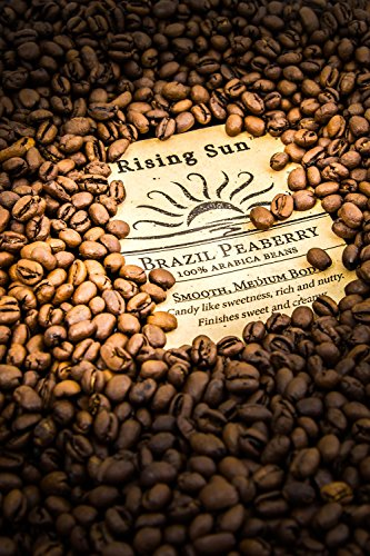 Rising-Sun Roasted Whole Coffee Beans, Brazil Peaberry
