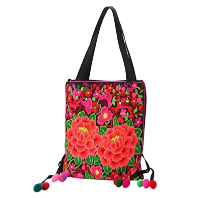 2fe231421d Image Unavailable. Image not available for. Color  Shoulder Bag Embroidered  Peony Made With Polyester ...