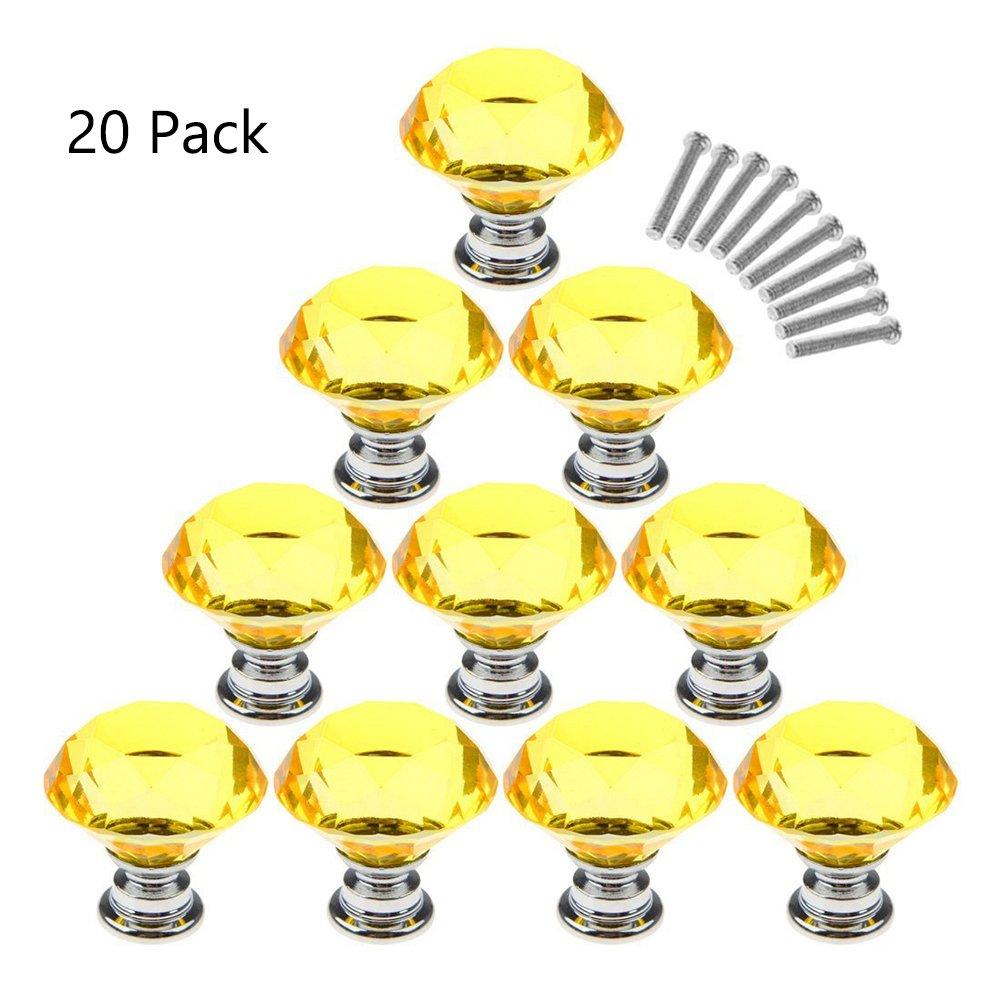 Magik 20Pcs Crystal Glass Cabinet Knob Diamond Shape 30mm Drawer Cupboard Handle Pull (Yellow)