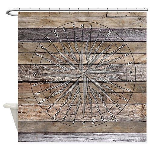 CafePress-Rustic-Nautical-Compass-Rose-Wood-Decorative-Fabric-Shower-Curtain