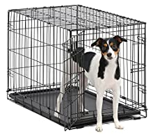 "Dog Crate | MidWest iCrate 30"" Folding Metal Dog Crate w/ Divider Panel, Floor Protecting Feet & Leak-Proof Plastic Tray 