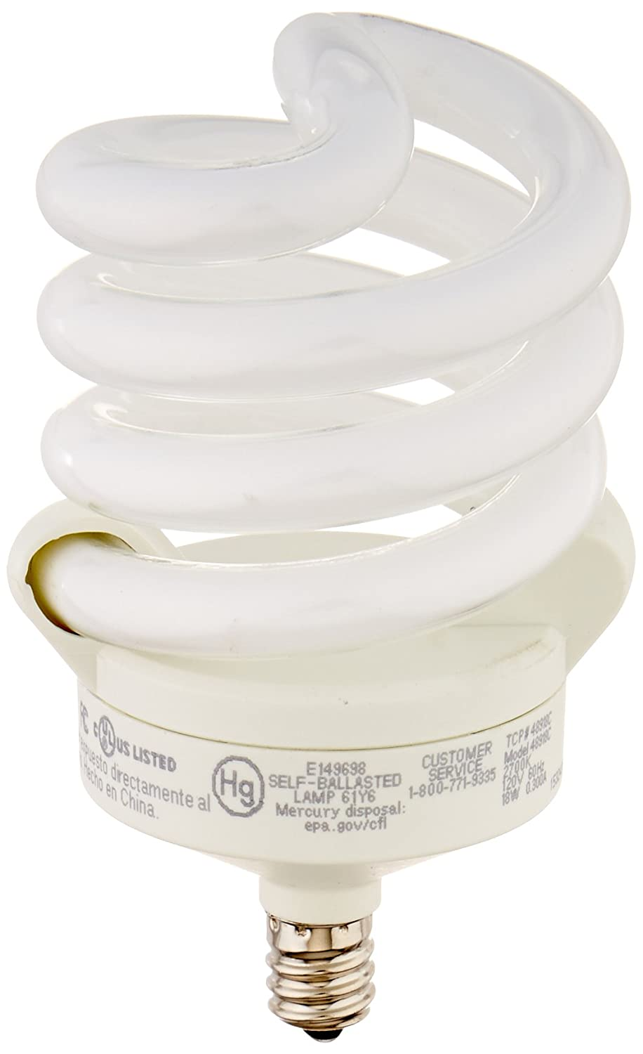 Tcp cfl 75w equivalent soft white 2700k full springlamp tcp cfl 75w equivalent soft white 2700k full springlamp candelabra base spiral light bulb compact fluorescent bulbs amazon arubaitofo Image collections