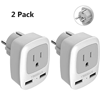 rongfang Enchufe de alimentación de Viaje 2 USB, Adaptador de Salida para los Estados Unidos en la Mayor Parte de Europa España Islandia: Amazon.es: Electrónica