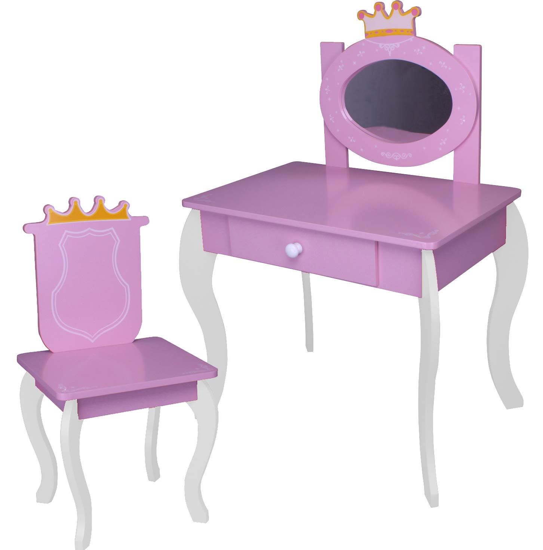 Habeig  120 Prinzessin Kinder Schminktisch Frisiertisch & Hocker Holz rosa Kindersitzgruppe