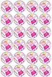 24 Peppa Pig Princess Edible Wafer Paper Cup Cake Toppers