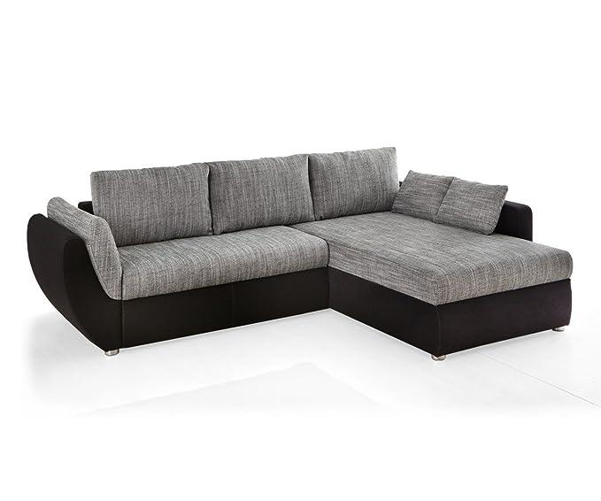 Sofá Tifon 272 x 200 cm, tela gris microfibras negras ...