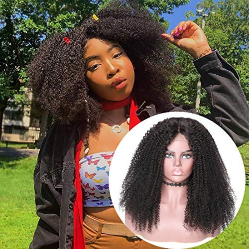 - UNice Hair 13X6 Kinky Curly Lace Front Human Hair Wigs,150% Density, Brazilian Virgin Hair Afro Kinky Curly Wig Pre Plucked with Baby Hair Natural Color (12 inch)